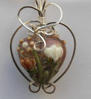Wrapped Lampwork Heart Pendant by DesertShineJewelry