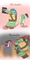Turtles and Frogs!  TMNT 2012 x K66 CROSSOVER by Neko-mirichan