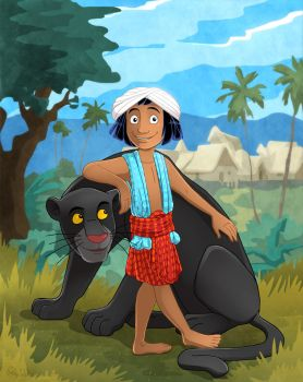 Mowgli and Bagheera by DrZime