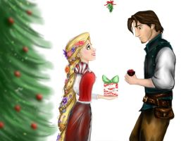 Rapunzel and Flynn Christmas by AnnieIsabel