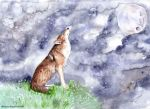 sad lonely wolf howling painting