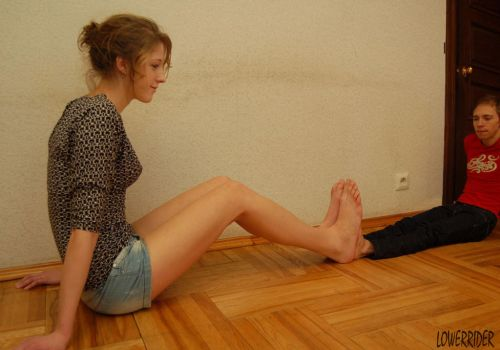 Tall Baltic girl feet compare by lowerrider