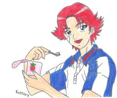 Eiji Eating Strawberry Yogurt by Kateroy