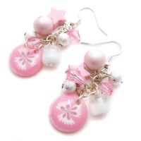Pale Pink + White Earrings by fairy-cakes