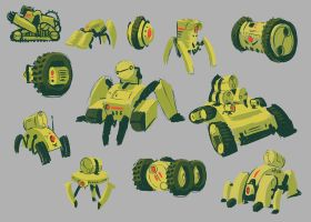 Wasteland Courier robots concept sketches by Brendavid