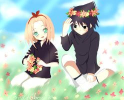SaSusAkU Flowers by eterneldarkness
