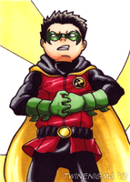 Damian Wayne art card by TwinEnigma
