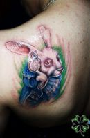 alice rabbit tattoo by sarstattoo