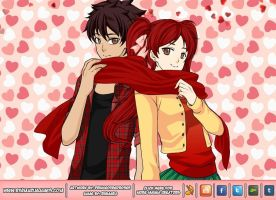 TD: Mike and Zoey sharing a scarf by ShugoJess0313