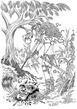 red sonja bw by ValFonseca