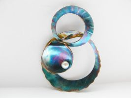 Blue patinated oyster pendant by irineja