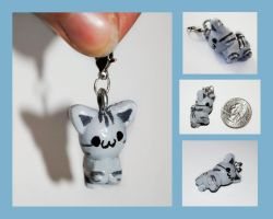 Grey Striped Kitten Charm by brandimillerart