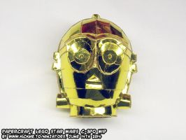 papercraft golden LEGO Star Wars C-3PO droids WIP8 by ninjatoespapercraft