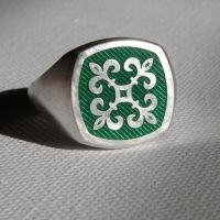 Green Enamel Signet Ring by gregoryfalkner