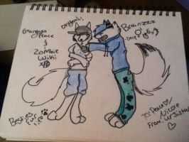 Peace the gangsta and wiki the zombie xD by MiyukatheDemonWolf