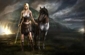 Valkyrie with icelandic horse by Skvor