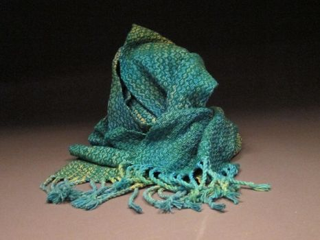 Silk Noil Scarf-Green by cherry767