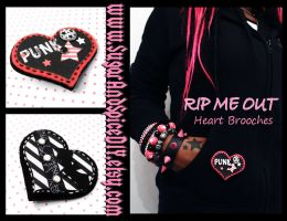 RIP ME OUT Felt Heart Pins by wickedland