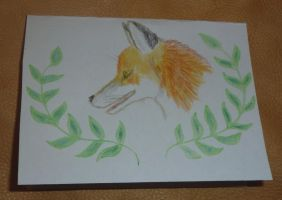 Fox card in pencils by lupagreenwolf