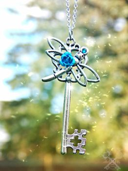 Sparkly Dragonfly Skeleton Key Necklace by ArtByStarlaMoore