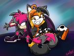 .:REQUEST:. Silly Back-to-Back Grins by SonicFF