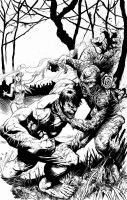 Hulk vs Swamp Thing Inks by thecreatorhd
