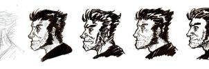 Lineart Experimentation with Wolverine by artsytarts