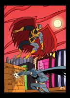 Batman vs Nighthawk with colors by Granamir30