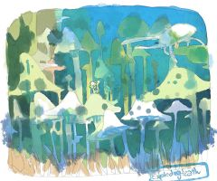 mushroom forest by explodingHeath