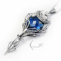 ANTIARELH - silver , blue topaz and quartz by LUNARIEEN