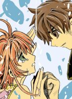 Syaoran and Sakura .:Colored:. by sexykyo