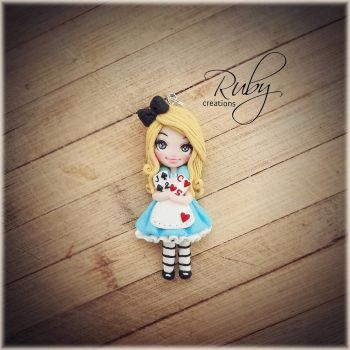 Alice in wonderland, polymer clay necklace by Ruby-creations