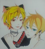96neko and Kagamine Len (p.s i've tried my best) by thumbelin0811