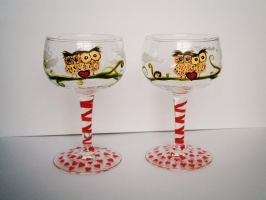 Owl Love - Set of two mini wineglasses by InkyDreamz