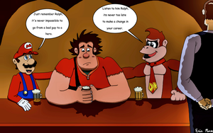 Wreck it Ralph Meets Mario by clinteast