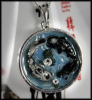 Black and White Koi Pond Necklace by NeverlandJewelry