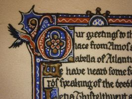Detail, Letia's Opal - Illuminated Letter by Merwenna