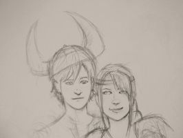 Hiccup and Astrid by IllustrationMinion