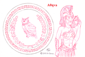 Sketch of Athena's Sheild by Deorse