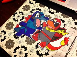 totodile and charmander / mega man and proto man by dance-arcadia
