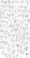 100 head sketches by M053AB
