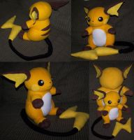 Sitting Raichu plush commish by YutakaYumi