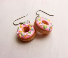 polymer clay pastel donut earrings by ScrumptiousDoodle