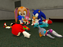 Cream and sonic play Dolls :D by Mariathehedgehog2