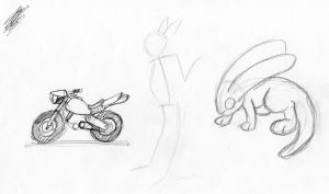 motorcycle, stick figure, butter by FrancisRosting