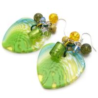 Green Acrylic Heart Earrings by fairy-cakes