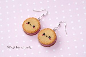 Kawaii cookie earrings with strawberry filling by virahandmade