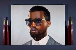 Kanye West Acrylic Painting by Rollingboxes