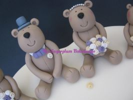Bride and Groom Teddy Bear Wedding Cake Toppers by SugarplumB