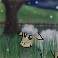 Sheep in the Snow by Bystander42